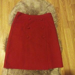Talbots petite Red solid wool skirt Sz 6P
